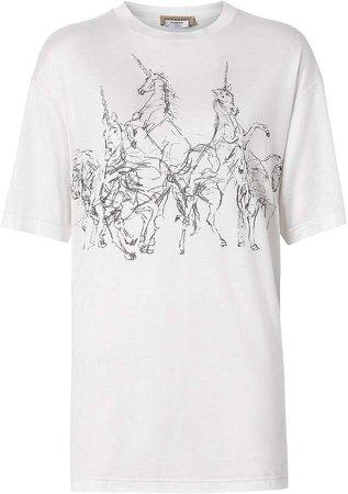 Unicorn Sketch Print Jersey Oversized T-shirt
