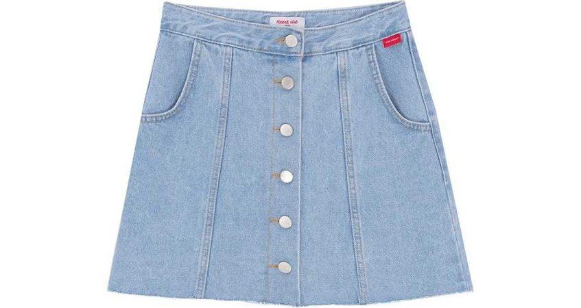 HEART CLUBButton-Down Denim Mini Skirt   mixxmix   OFFICIAL ENGLISH WEBSITE