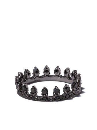 Annoushka 18kt White Gold Crown Diamond Ring - Farfetch