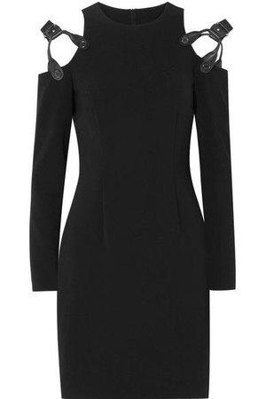 Cold-Shoulder Leather-trimmed crepe mini Dress