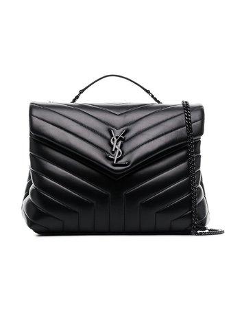 Saint Laurent Black Loulou Leather Quilted Shoulder Bag | Farfetch.com