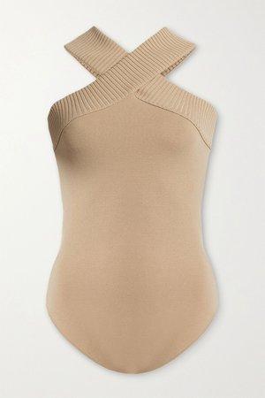 Beige Stretch-knit bodysuit | Zeynep Arcay | NET-A-PORTER
