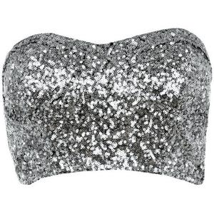 Silver Sequin Crop top