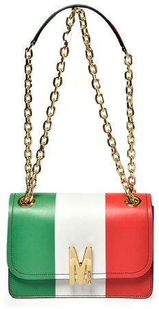 M Italian Slogan Leather Shoulder Bag