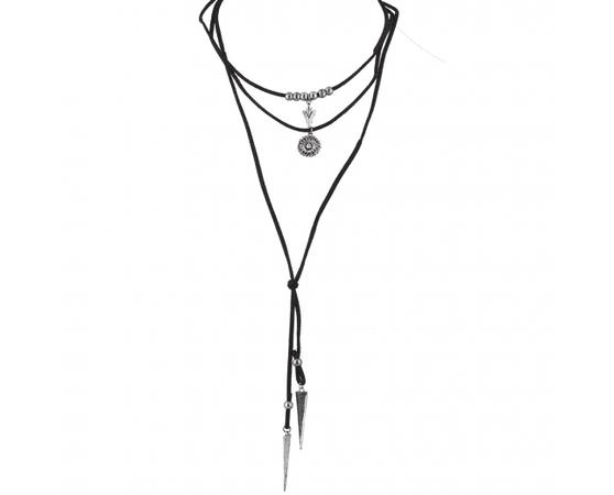 Silver Black Suede Cord Boho Lariat Choker Necklace - Necklaces
