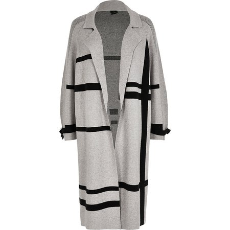 Grey geo knitted duster | River Island