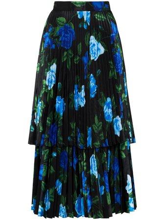 Richard Quinn floral-print Pleated Skirt - Farfetch