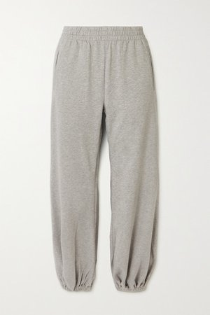 Boyfriend Melange Stretch Cotton-jersey Track Pants - Gray