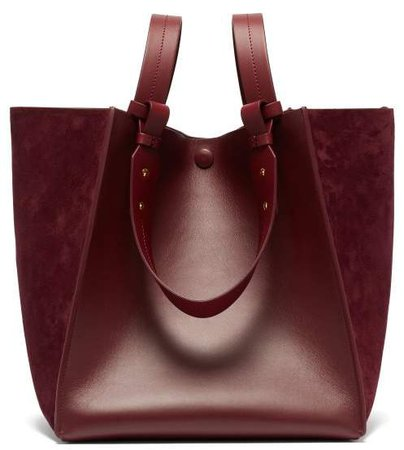 Cube Leather And Suede Tote Bag - Womens - Burgundy