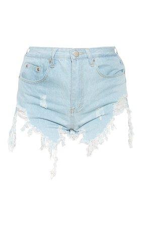 Light Blue Wash Extreme Thigh Rip Denim Short | PrettyLittleThing USA