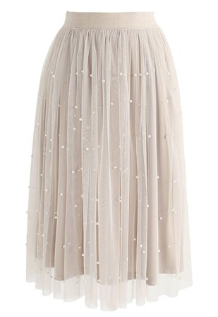long skirt with pearls chicwish