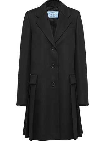 Shop black Prada single-breasted coat with Express Delivery - Farfetch