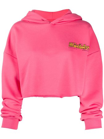 Shop pink MISBHV cropped embroidered logo hoodie with Express Delivery - Farfetch