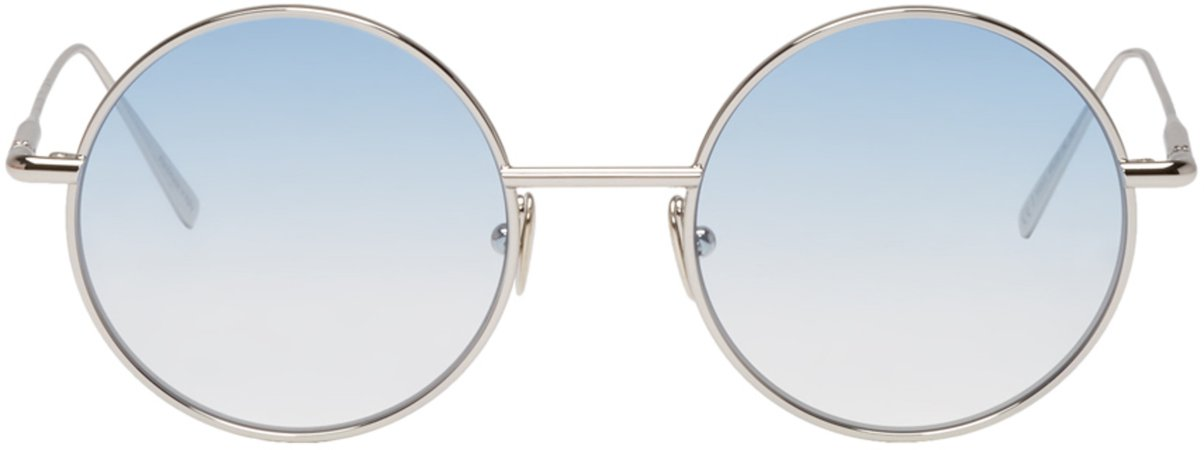 Acne Studios: Silver & Blue Scientist Sunglasses | SSENSE