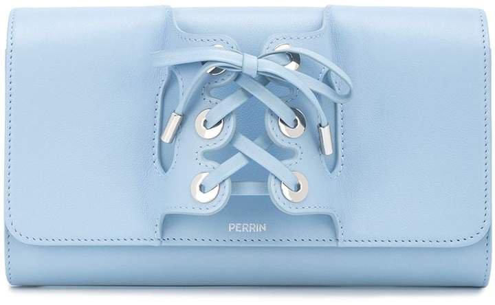 lace-up detail clutch bag