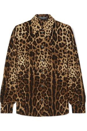 Dolce & Gabbana | Leopard-print silk-blend georgette shirt | NET-A-PORTER.COM