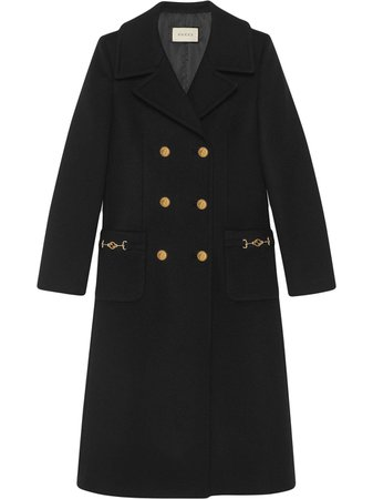 Black Gucci Double-Breasted Mid-Length Coat | Farfetch.com