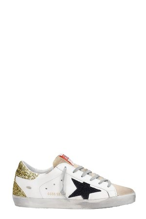 Golden Goose Superstar Sneakers In White Suede And Leather