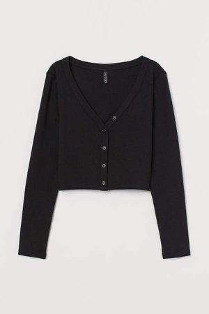 V-neck Jersey Top - Black