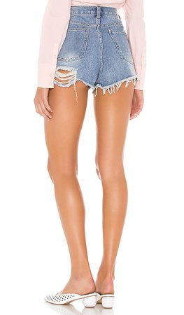 REVOLVE distressed light wash denim shorts