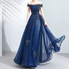 Fioridi Cold Shoulder A-line Evening Gown   YesStyle