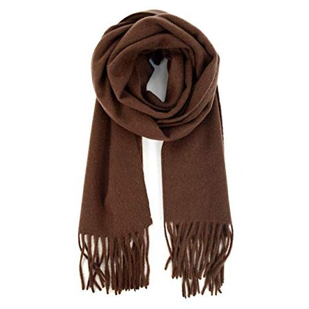 100% Cashmere Soft Unisex Solid Color Scarf with Tassels Winter Luxury, CHOCOLATE BROWN at Amazon Women's Clothing store: Cold Weather Scarves
