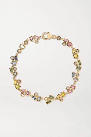 Gold 18-karat gold, diamond and sapphire bracelet | Suzanne Kalan | NET-A-PORTER