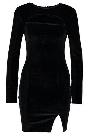 Velvet Cut Out Front Mini Dress | Boohoo