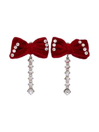 Miu Miu Embellished Velvet Earrings - Farfetch