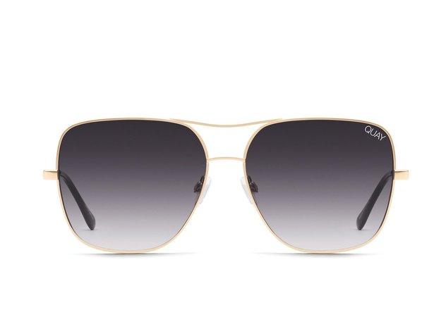 STOP AND STARE Gold Square Sunglasses | Quay Australia