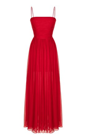 Rasario Draped Silk-Chiffon Gown