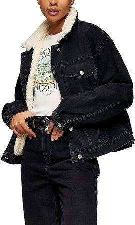 Faux Shearling Trim Denim Jacket