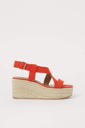 Wedge-heeled Sandals - Orange