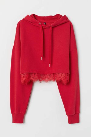 Short Hooded Top with Lace - Red