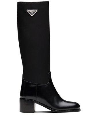 Prada triangle-logo calf-length boots - FARFETCH
