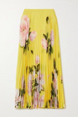 Pleated Floral-print Silk-crepe Midi Skirt - Yellow