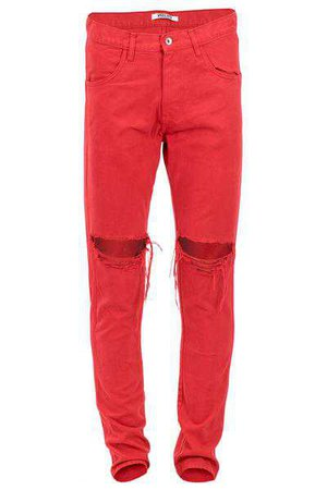 ENSLAVED® Clothing   Red Ripped Tapered Jeans
