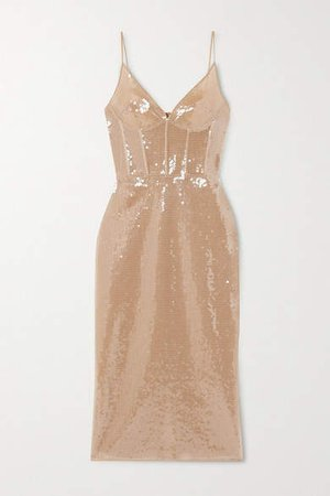 Sequined Tulle Midi Dress - Beige