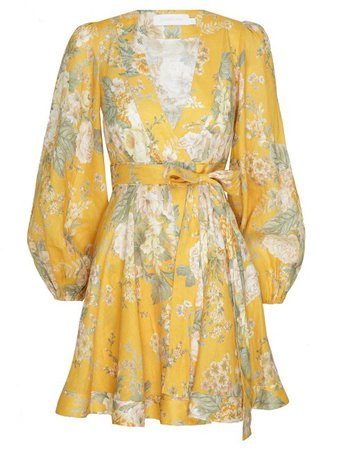 Amelie Floral-Print Linen Mini Dress by Zimmermann | Moda Operandi