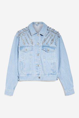 Crystal Denim Bralet, Jacket and Shorts Set - Suits & Co-ords - Clothing - Topshop USA