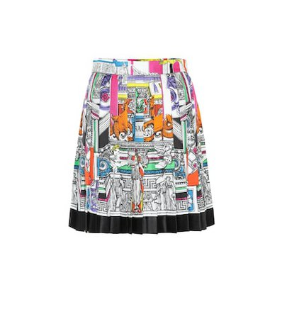 Pleated silk twill miniskirt