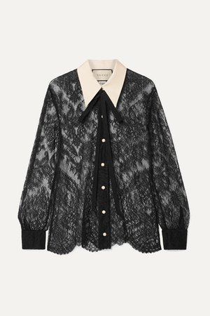 Gucci | Grosgrain-trimmed pussy-bow lace blouse | NET-A-PORTER.COM