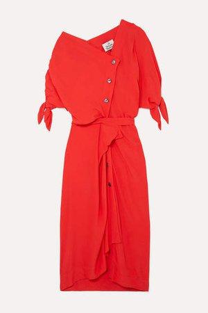 Thaw Asymmetric Draped Crepe Midi Dress - Red