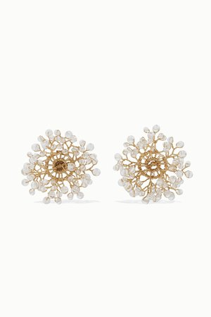 White Dewdrop gold-plated crystal earrings | 14 / Quatorze | NET-A-PORTER