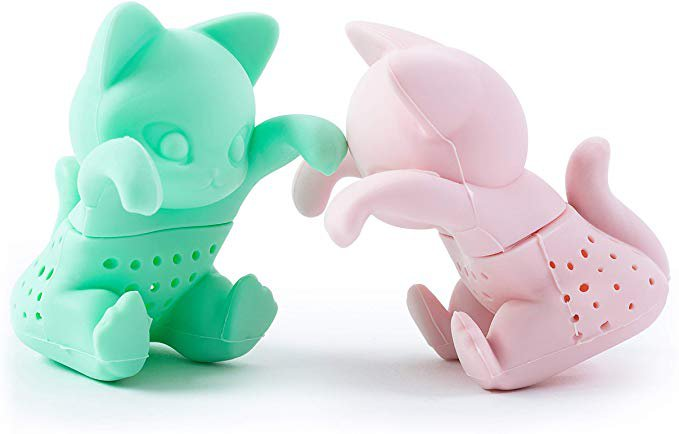 Amazon.com: Tea Infuser Set for Loose Leaf Tea - Cute Cat-shaped Tea Strainers for Enjoyable Tea Times with Friends - Set of 2 - Pink and Mint Green: Kitchen & Dining