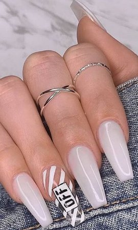 White Off-White nails