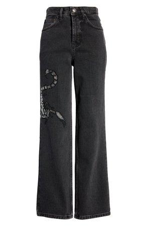 Topshop Crystal Scorpion Runway Wide Leg Jeans | Nordstrom