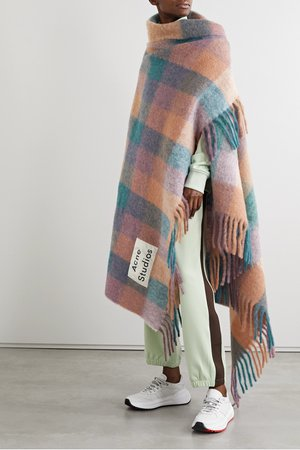 Pink Fringed checked knitted scarf | Acne Studios | NET-A-PORTER