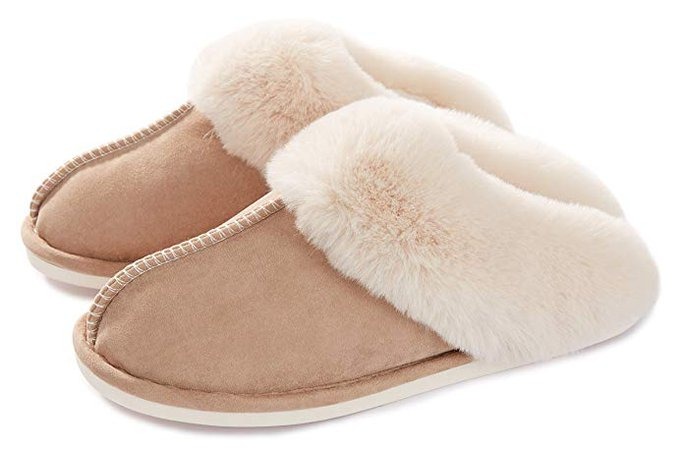 Amazon.com | Womens Slipper Memory Foam Fluffy Soft Warm Slip On House Slippers, Anti-Skid Cozy Plush for Indoor Outdoor(Khaki 8.5-9 B(M) US) | Slippers