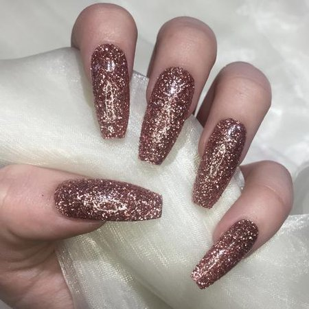 Extra Long Rose Gold Glitter Coffins – Nails By Georgia